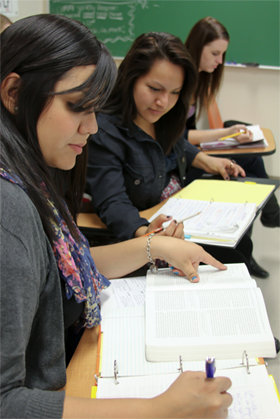 Students studying