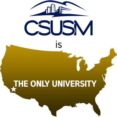 Map of US showing CSUSM as the only university