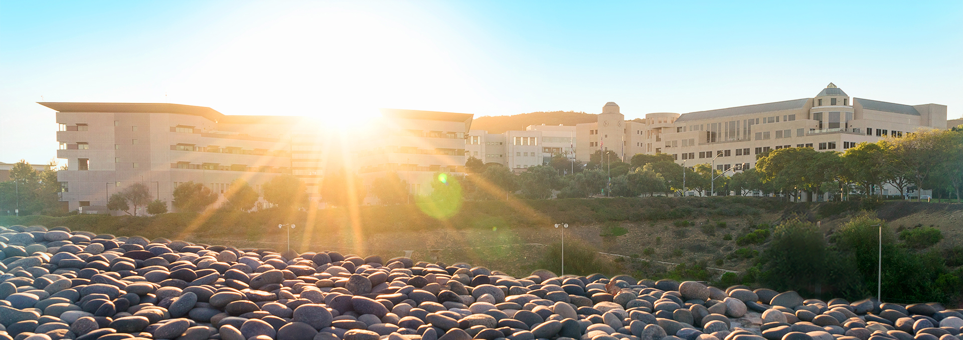 photo of sunrise over CSUSM campus