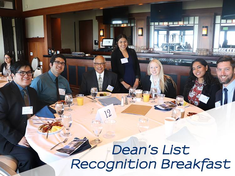 Dean's List students networking at breakfast