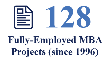 128 fully-employed MBA projects (since 1996)