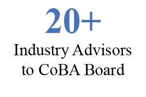 20+ industry advisors to CoBA board