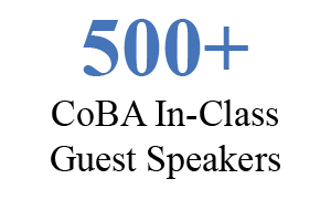 500+ CoBA in-class guest speakers