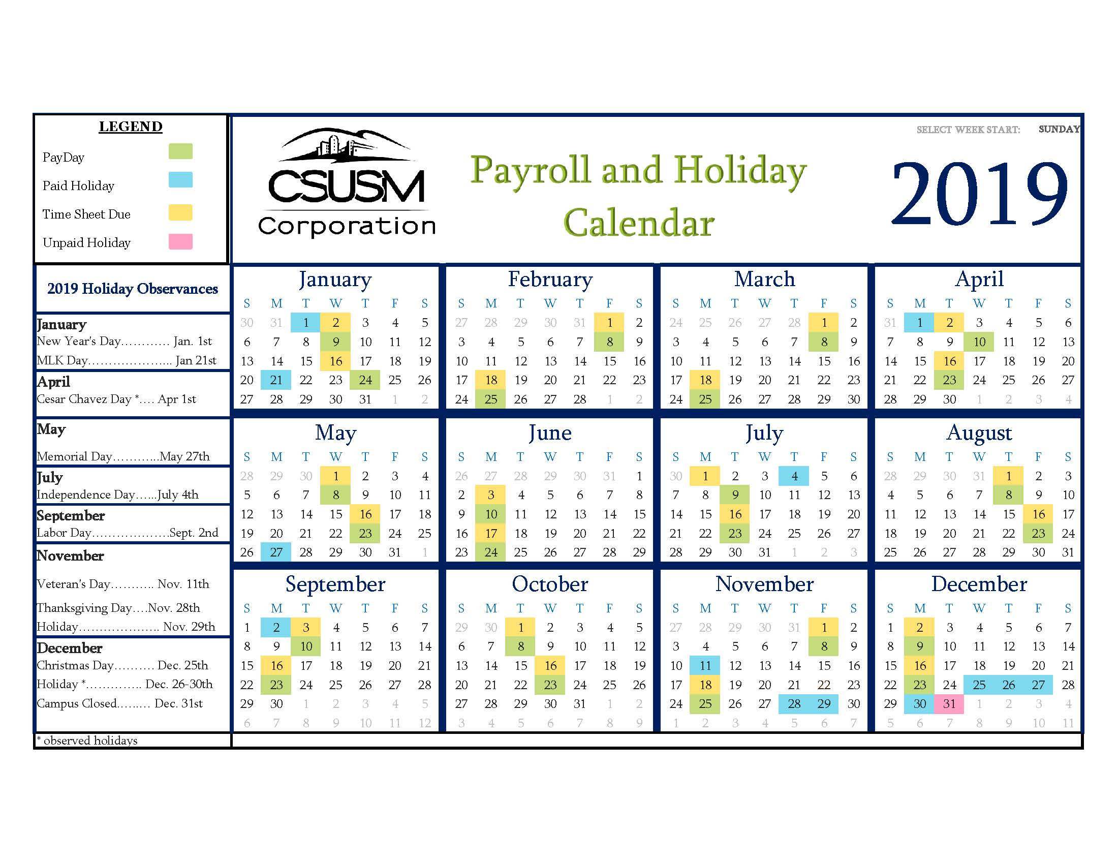Payroll Holiday 2019 Calendar