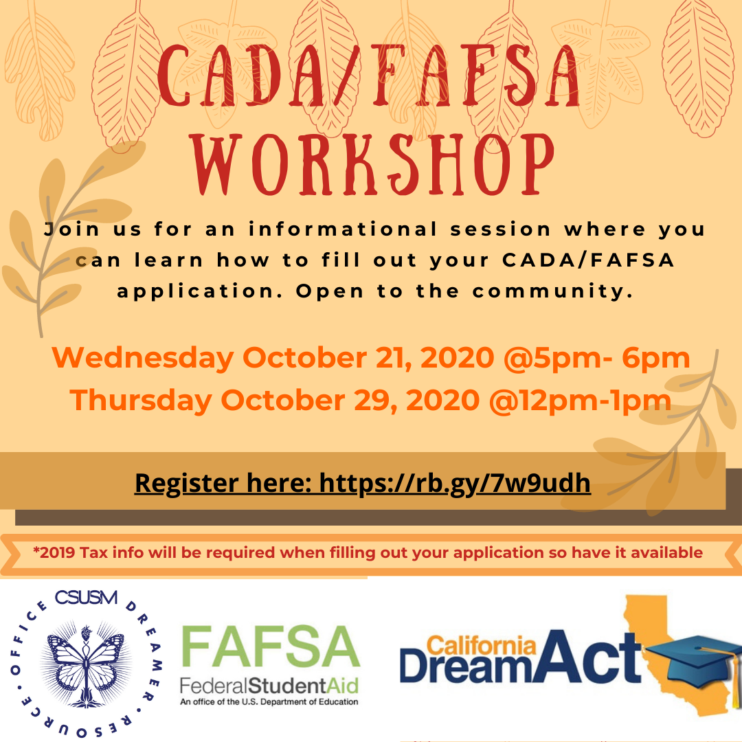 Flyer for California Dream Act/FASFA Workshops