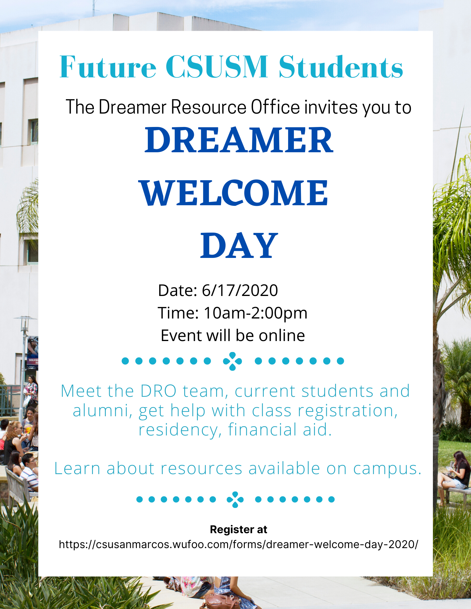 dreamer welcome day 2020 flyer