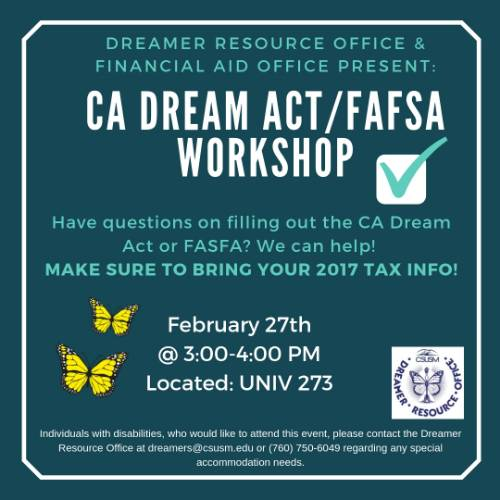 Get assistance with your federal financial aid or California Dream Act application
