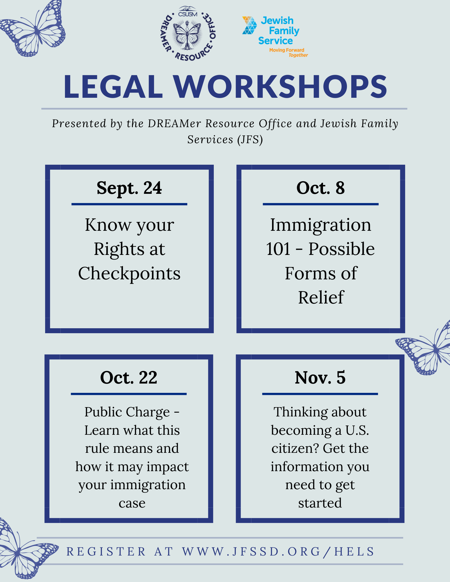 Know your Rights Workshop Flyer for Fall of 2020