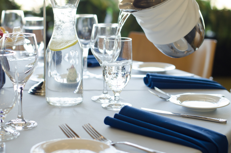 table linens and crystal