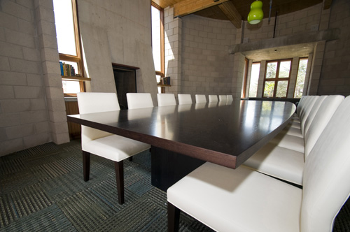 McMahan House Library, long boardroom table with white chairs