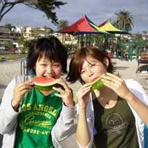 students eating watermellon