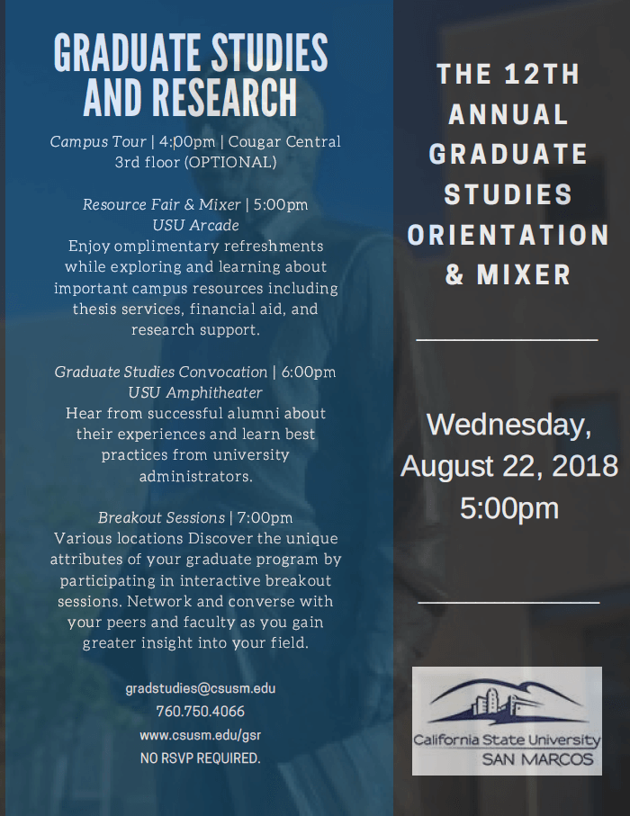 The Flyer for the 2018 Graduate Orientation and Mixer