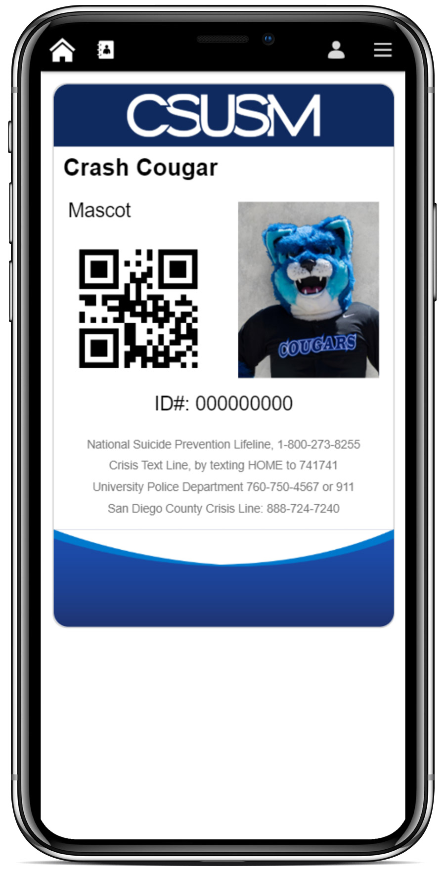 Example CSUSM Digital ID showing campus mascot CRASH.