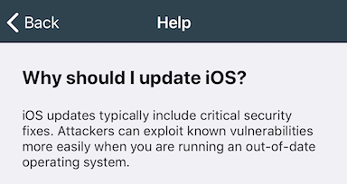 why should I update iOS screen
