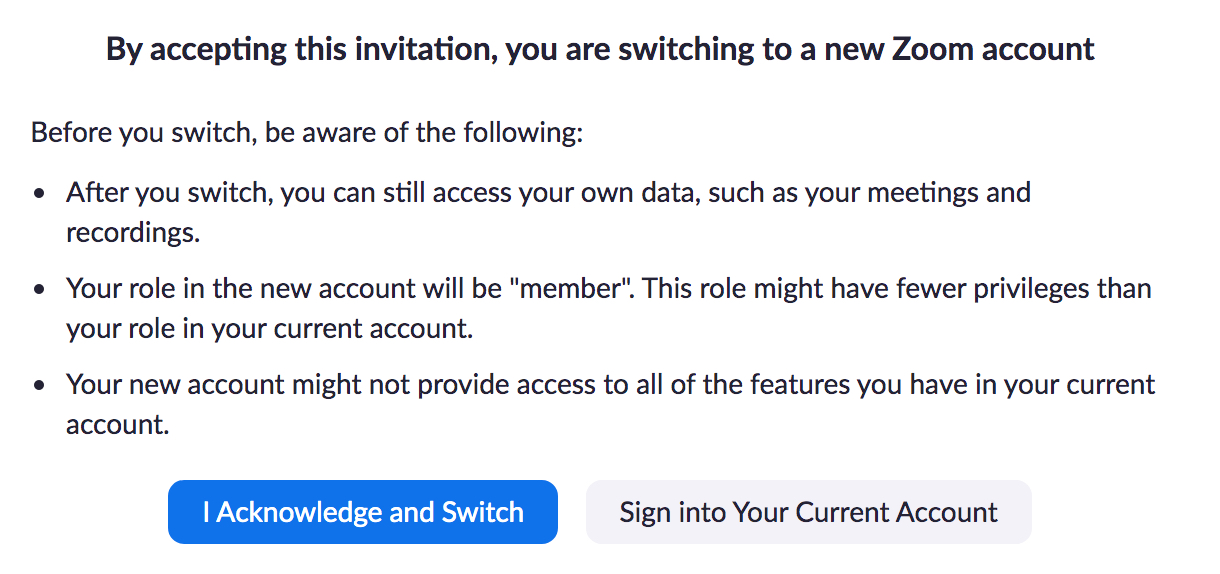 acknowledge your account is switched