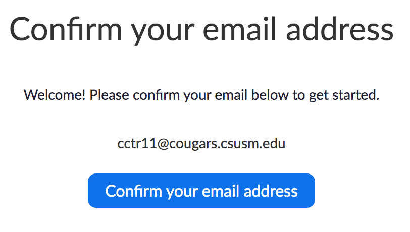 confirm email switch from free Zoom account to CSUSM Zoom account