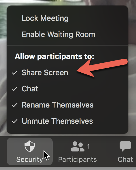 prevent participants from sharing the screen in a zoom meeting