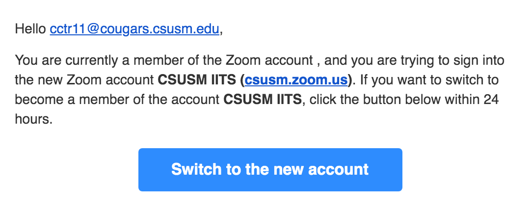 switch your free account to the CSUSM account