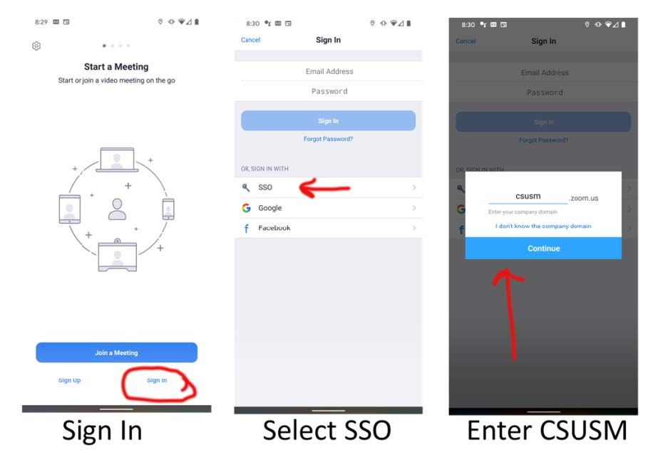 setup screens for zoom on phone using sso