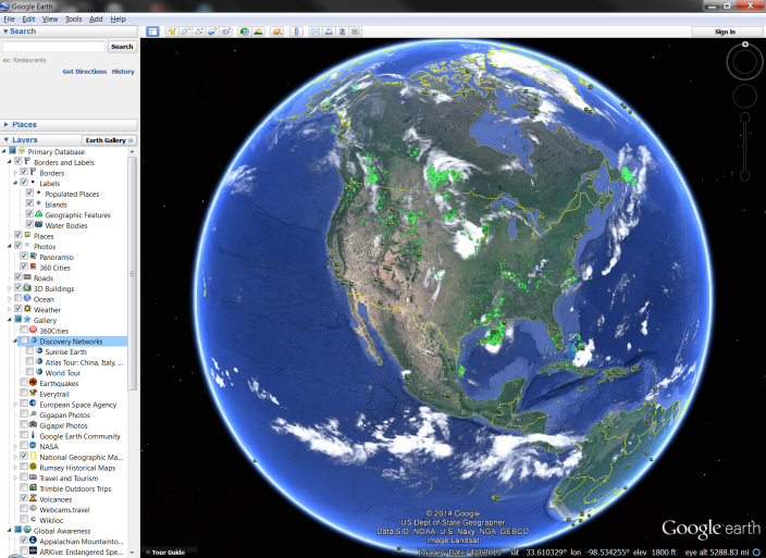 Figure 3 - Google Earth view of North America