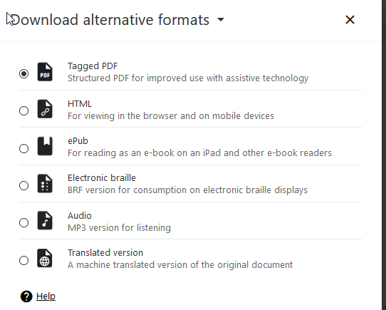 list of alternative formats