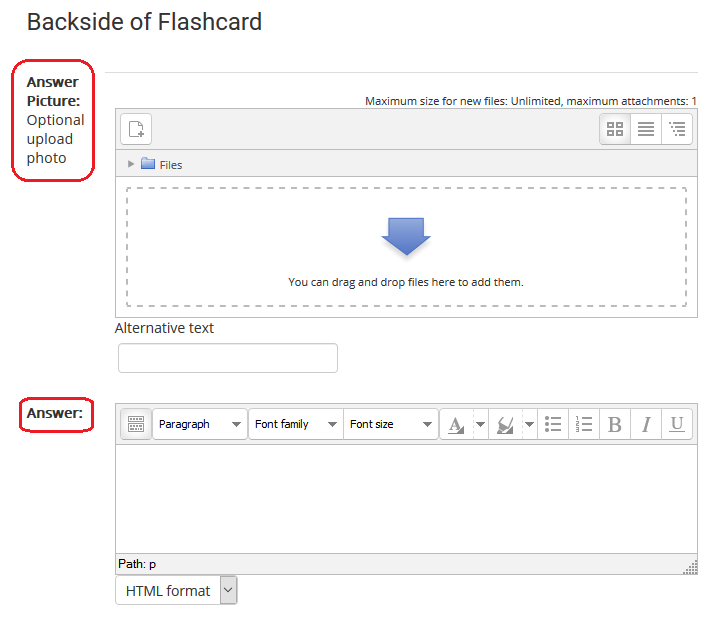 backside of flashcard options