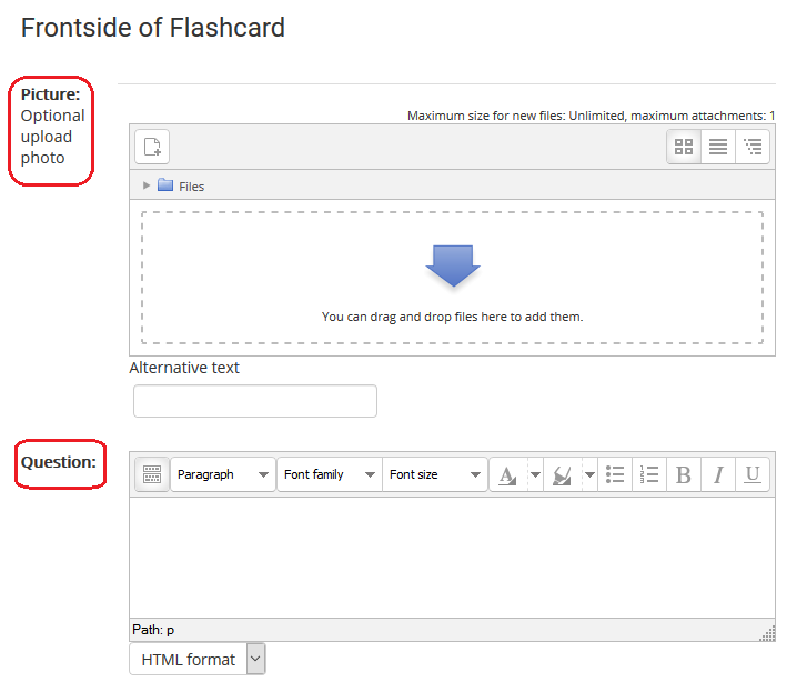 frontside of flashcard options