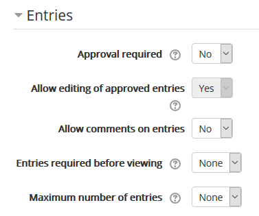 options in the entries section
