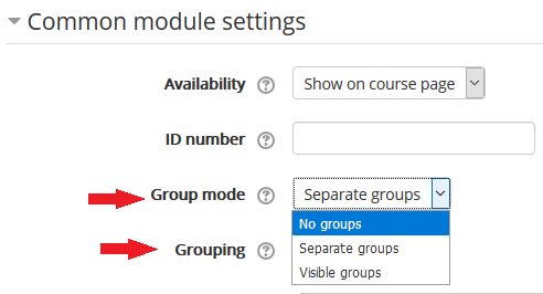 group mode an dgrouping settings