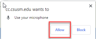 click to allow access to your computer's microphone