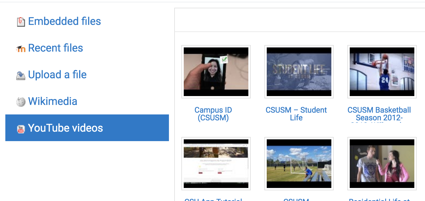 YouTube file finder with thumbnails