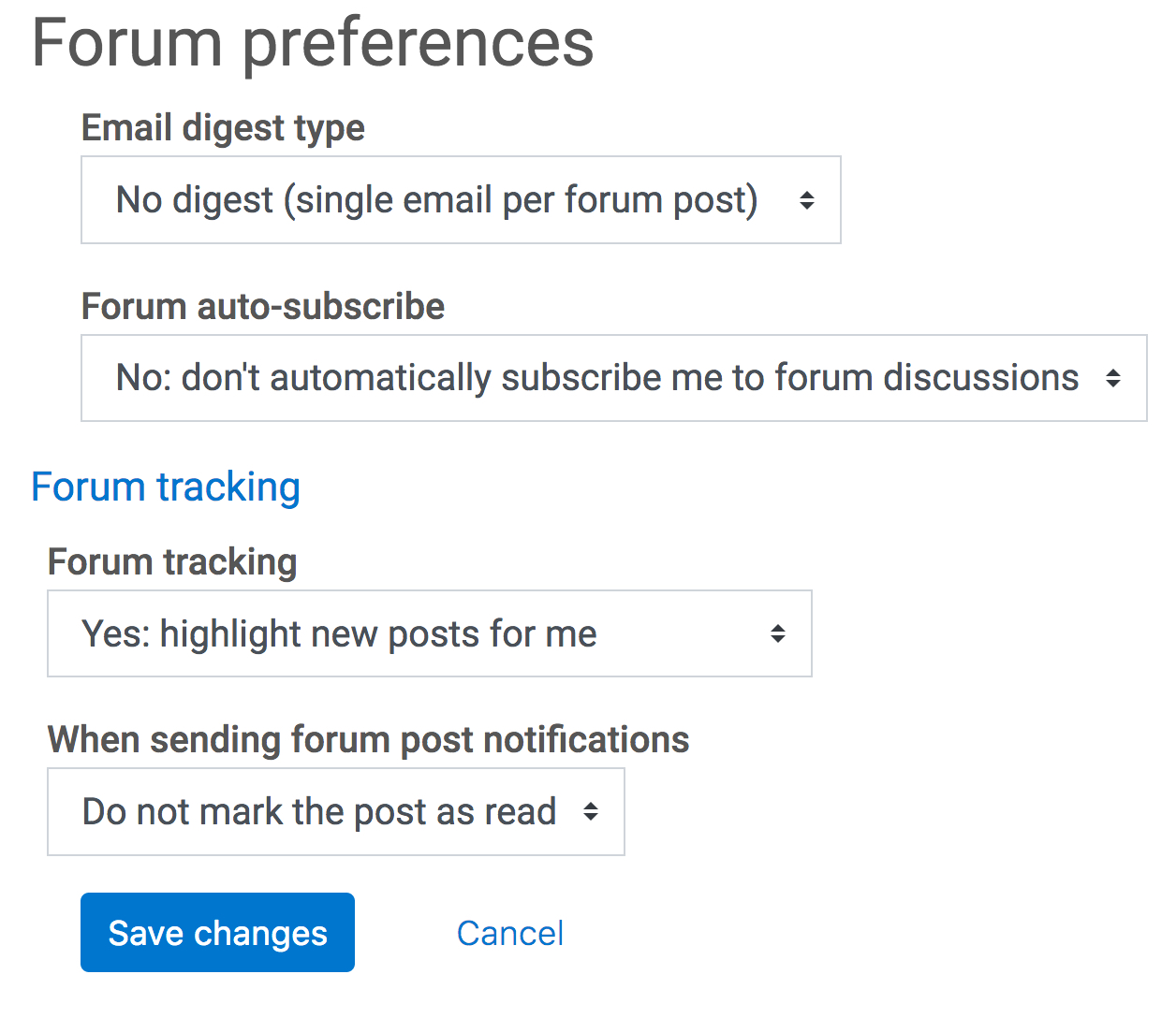 forum preference options