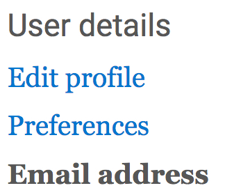 user profile options to choose edit profile link