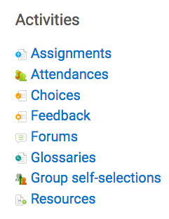 activities block showing assignments and resources
