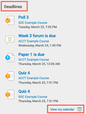 access calendar from the deadlines section under my courses