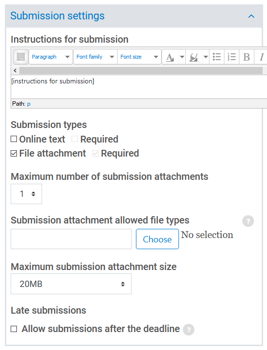 submission settings section