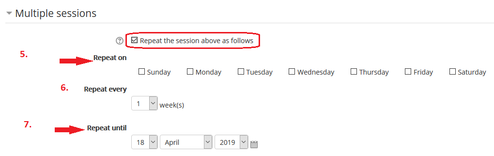 multiple sessions options