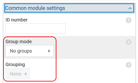 Groups and grouping settings within Common Module Settings section