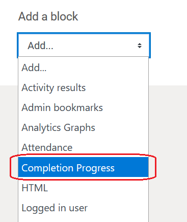 completion progress in the dropdown