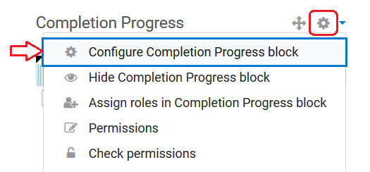 configure completion progress block