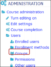 select the group link from the administration block