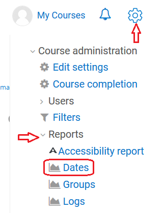 course admin, reports dropdown, then dates