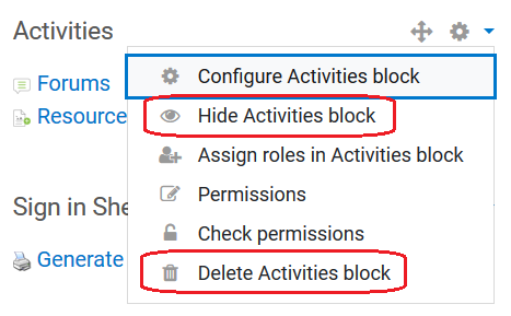 hide or delete options in actions menu for a block
