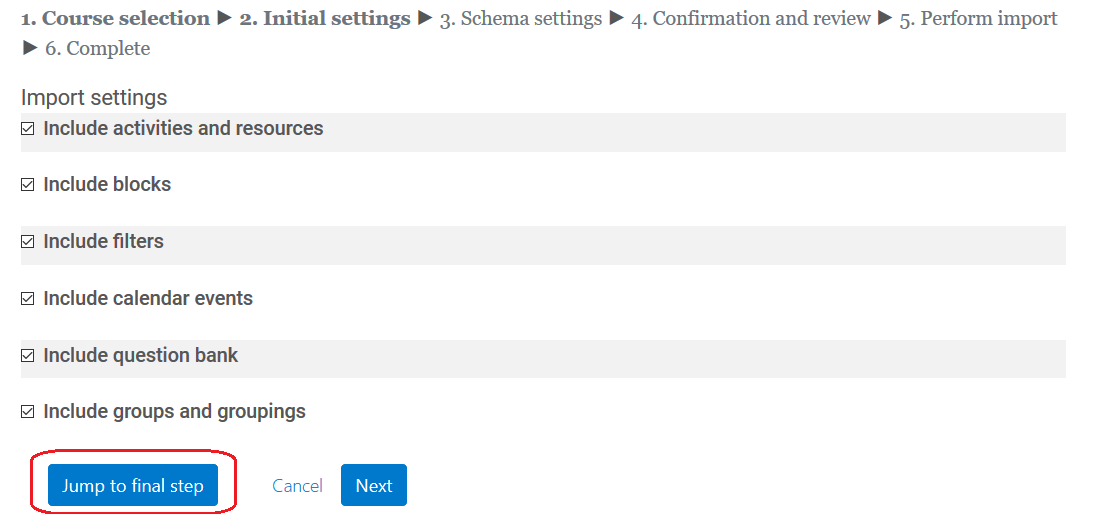 initial settings page, jump to final step button