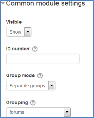 common module settings for groups