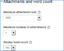 attachments and word count options