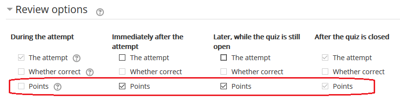 review options section, points checked