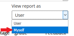view report as drop down, selecting myself