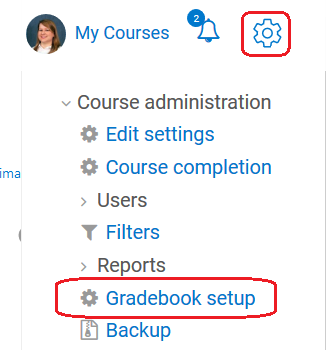 course administration block and gradebook setup link