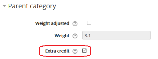 extra credit box in grade item settings